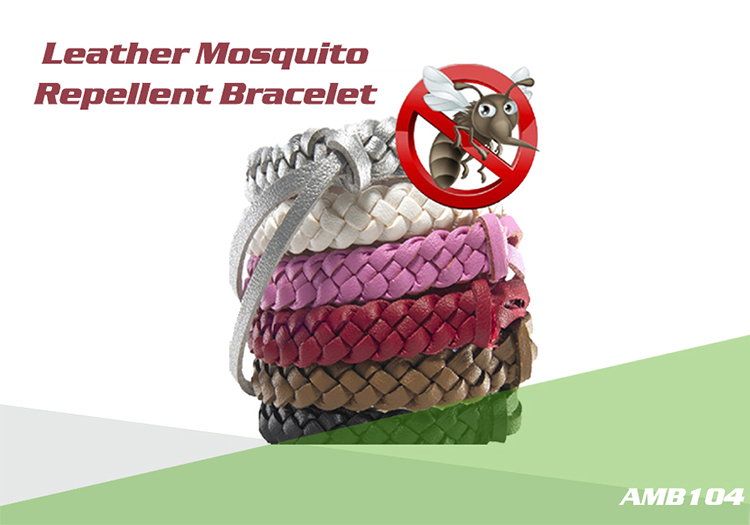 Leather mosgìoto repellent wristband-AMB104-1